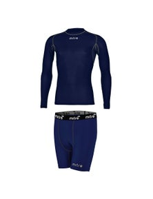 Mitre Neutron Compression Shorts and Ls Top Set Size Md Navy