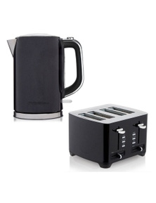 Westinghouse 1.7L 2200W Electric Kettle W/ Rotating Base/4 Slice Toaster - Black 2Pc