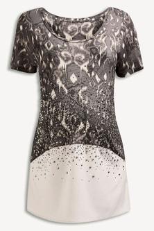 Next Grey Embellished Print Top (Maternity)