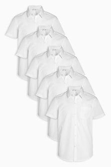 Next Slim Fit Short Sleeve Shirts Five Pack (3-16yrs)