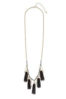 Multiple Black Tassel Necklace