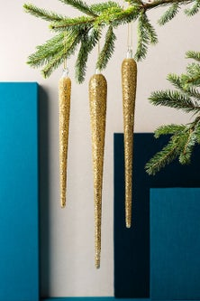 Glass Glitter Icicle Ornaments Set of 3