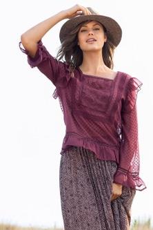 Emerge Embroidered Long Sleeve Ruffle Top