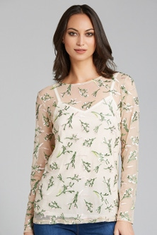 Emerge Long Sleeve Embroidered Top