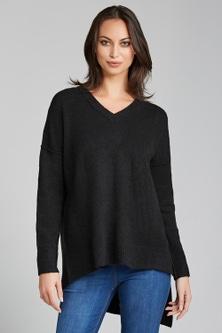 Emerge V Neck Asymmetric Sweater
