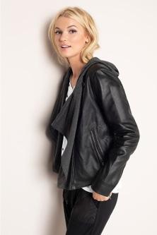 Emerge Contrast Sweat Leather Jacket