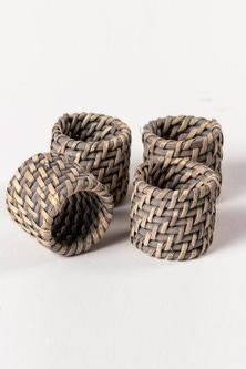Rattan Napkin Ring Set of Four