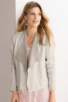 Grace Hill Drape Front Leather Jacket