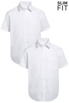 Next Short Sleeve Shirts Two Pack (3-16yrs) - Slim Fit