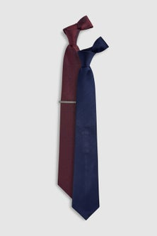 Next Spot And Plain Ties Two Pack With Tie Clip