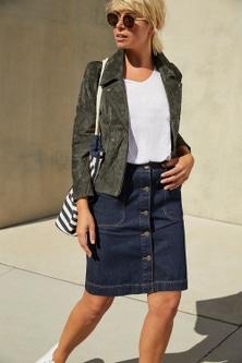 Emerge Button Denim Skirt