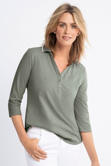 Capture 3/4 Sleeve Polo Top