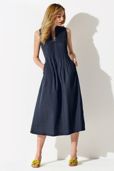 Kaleidoscope Linen Blend Pintuck Dress