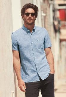 Next Linen/Cotton Short Sleeve Shirt