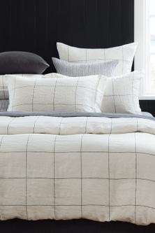 Hampton Linen Grid Pillowcase Pair