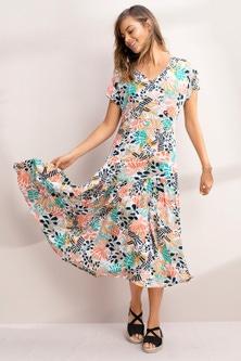 Emerge V Neck Tiered Midi Dress