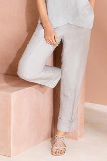 Grace Hill Pleat Front Linen Blend Pants
