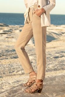 Emerge Linen Blend Cuffed Pants