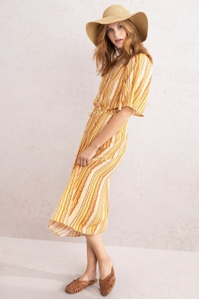 Emerge Tie Waist Button Midi Dress