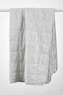 Hampton Stripe Quilted Linen Throw