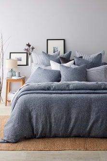 Hampton Chambray Linen Duvet Cover Set
