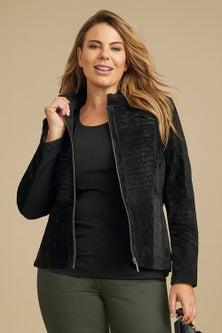 Sara Suede Stitch Panel Jacket
