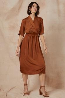 Grace Hill Satin Wrap Midi Dress
