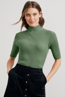 Capture High Neck Rib Top