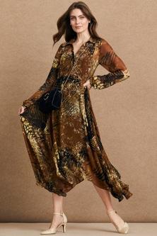 Grace Hill Pintuck Midi Trapeze Dress