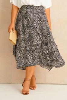 Sara Print Hanky Hem Skirt