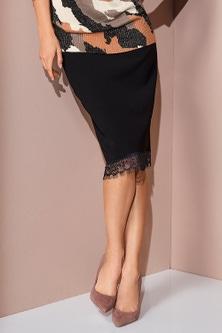 European Collection Lace Hem Skirt