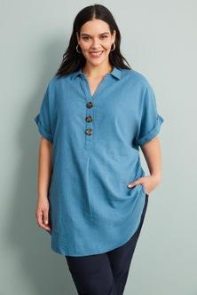 Sara Linen Short Sleeve Shirt