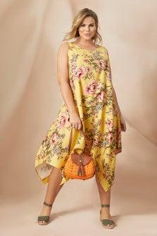 Sara Angled Hem Linen Dress