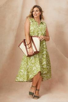 Sara Sleeveless Linen Shirt dress