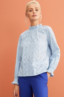 Emerge Broderie Ruffle Neck LS Top