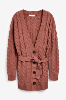 Next Rose Belted Cable Cardigan