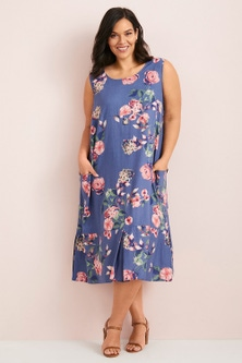 Sara Button Linen Detail Dress