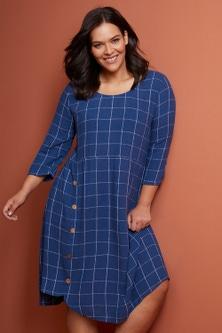 Sara Linen Blend Button Dress