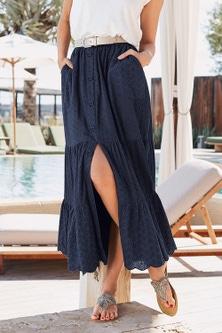 European Collection Broderie Maxi Skirt