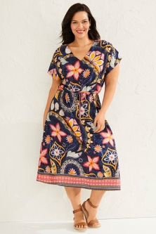 Sara Gather Waist Midi Dress