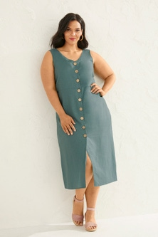 Sara Linen Button Through Dress