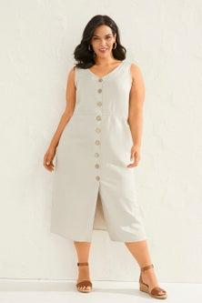 Sara Linen Button Through Dress