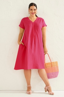 Sara V Neck Linen Blend Dress