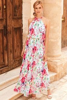 Kaleidoscope Pleated Maxi Dress
