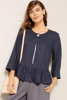 Grace Hill Linen Button Front Jacket