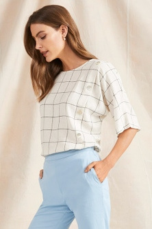 Grace Hill Linen Blend Button Front Top