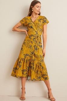 Capture Linen Ruffle Hem Wrap Dress