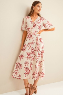 Grace Hill Linen Blend Belted Shirt Dress