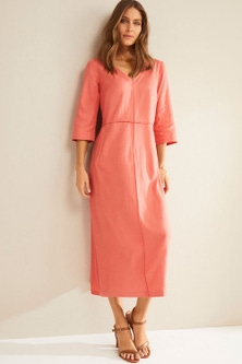 Grace Hill Linen V Neck Midi Dress