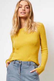 Capture Ribbed Knit Crew Neck Sweater